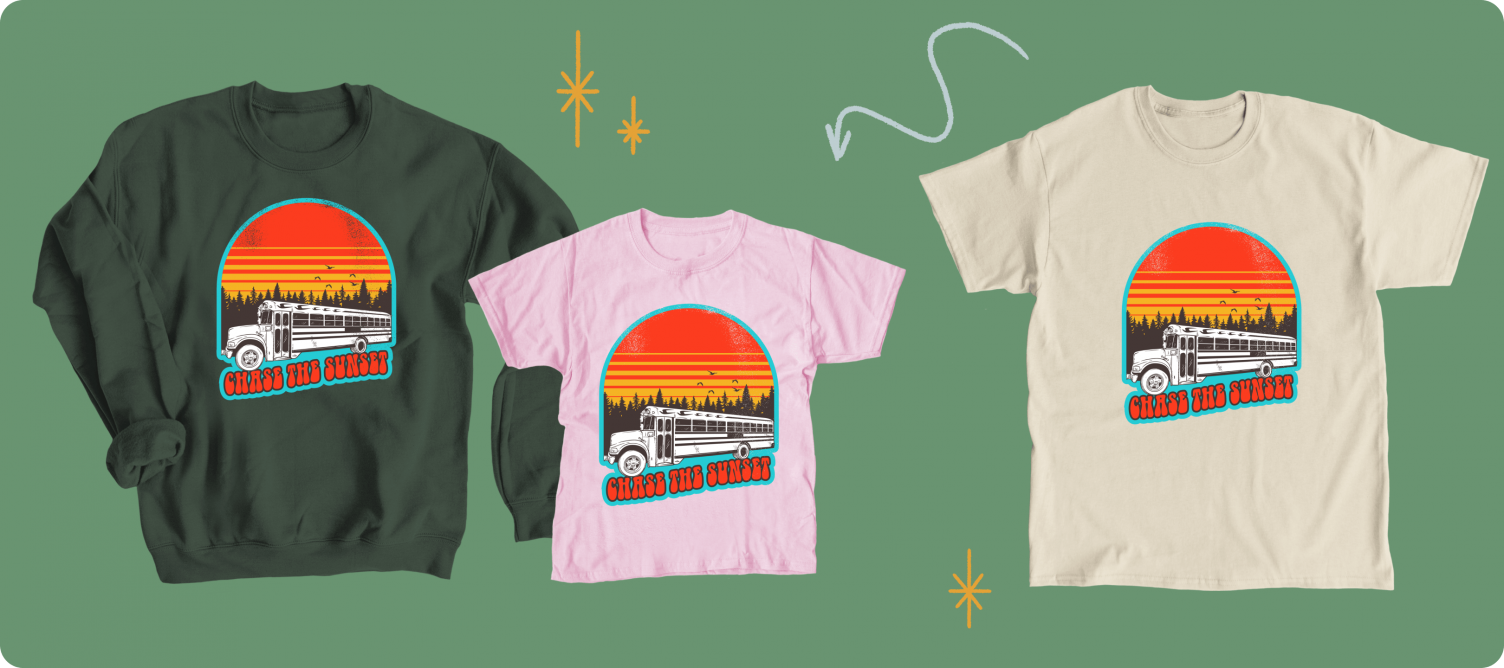 Chase the Sunset Retro collection merch from the famous TikTok creator Skye Hitchcock.