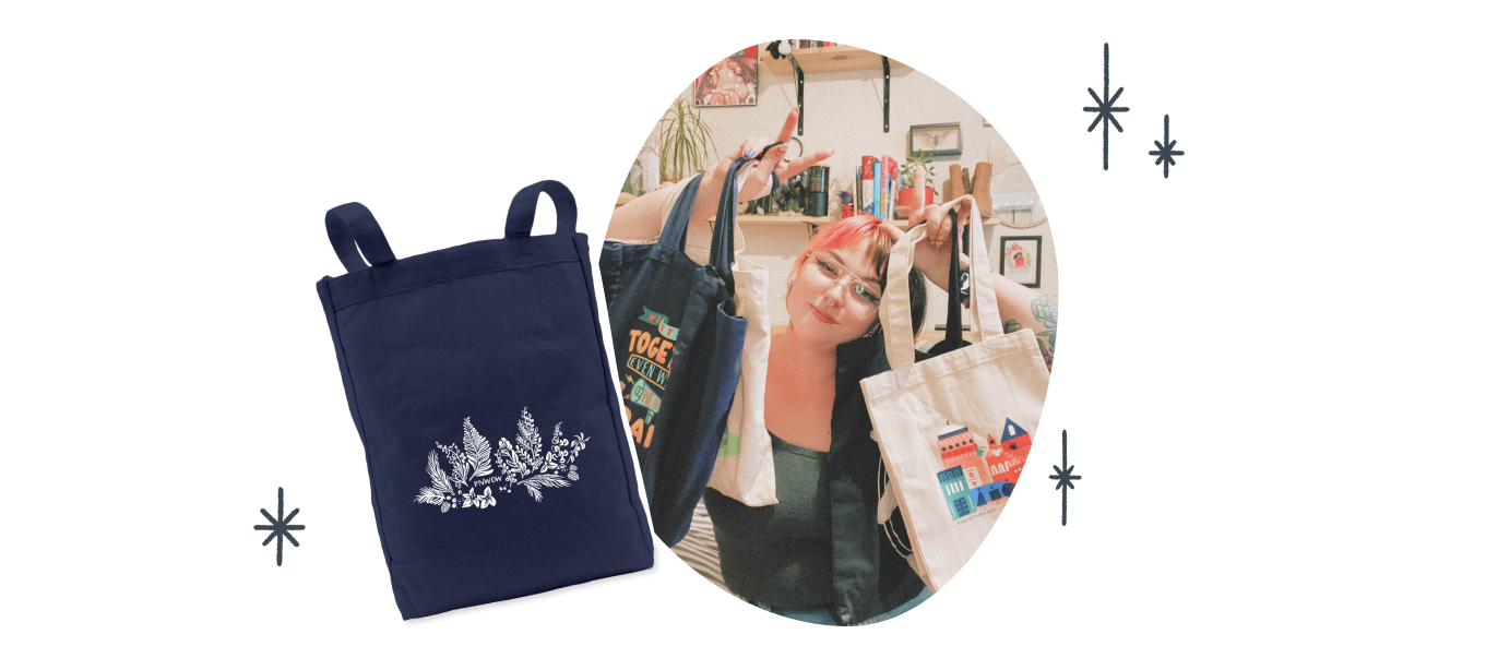 Thenavy blue Premium Tote Bag with the PNWOW Flora design from PNW Outdoor Women.