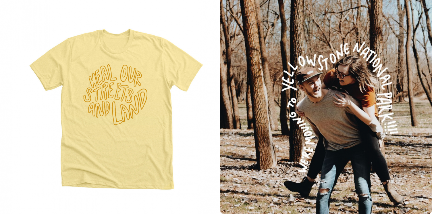 The Heal Our Streets and Land fundraising shirt that benefits Yellowstone National Park.