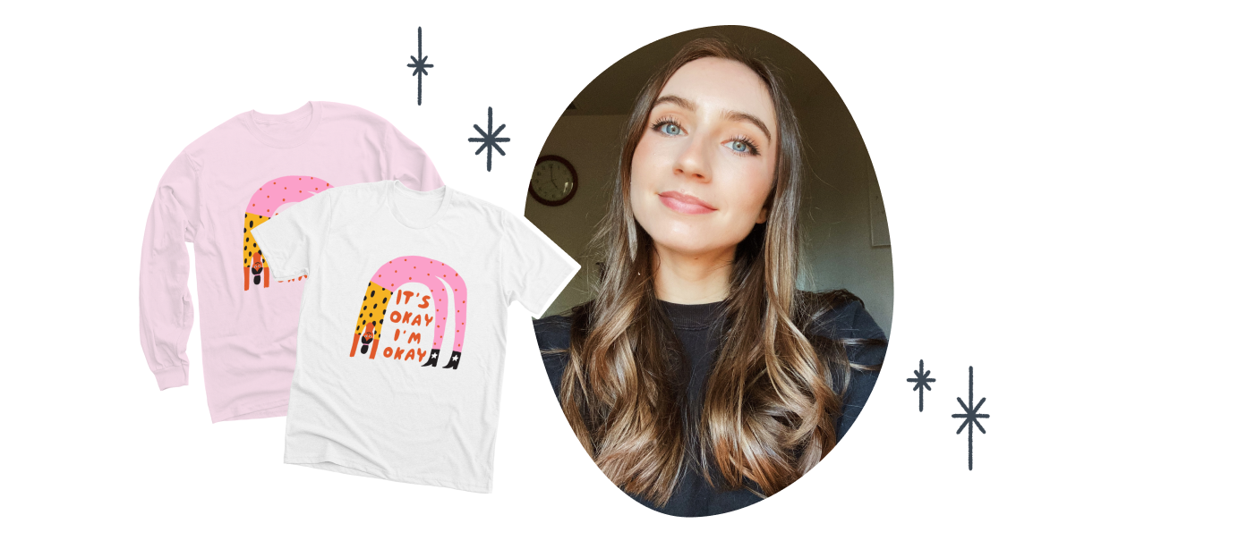 The Classic Unisex Tee and Classic Long Sleeve Tee with the It's Okay design from KB Illustration.