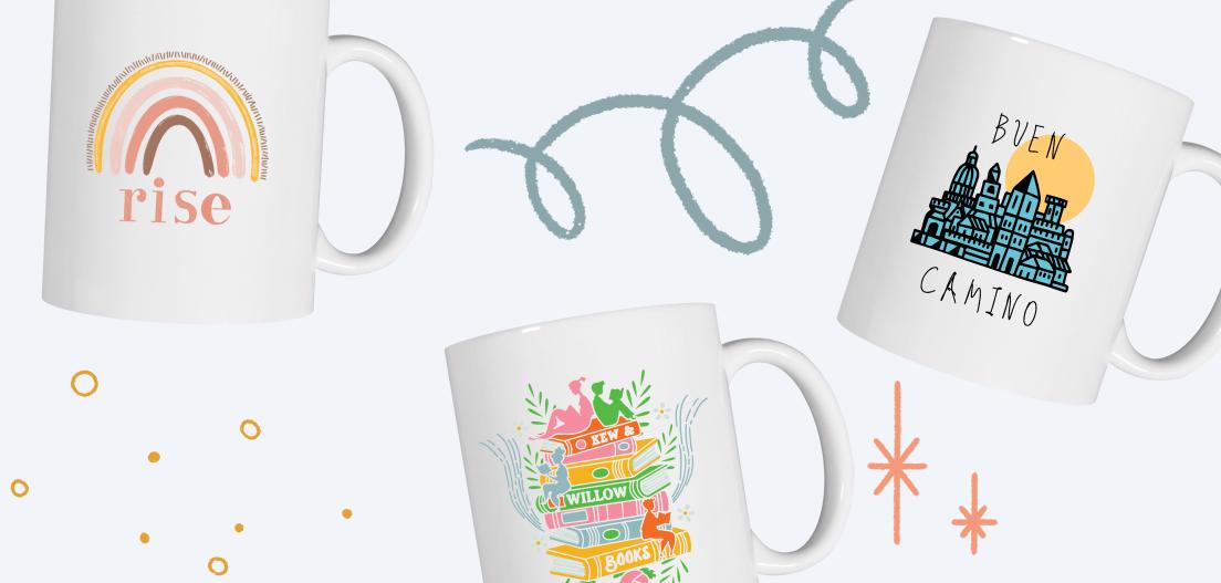 Ceramic coffee mug designs from the Rise Mug, Kew & Willow Mug, and Buen Camino Mug campaigns.