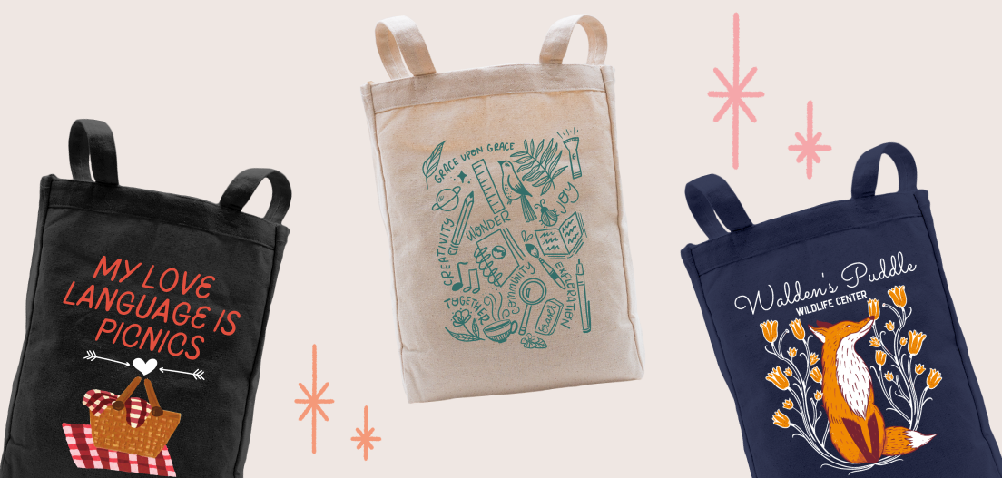Premium tote bag designs from the Picnic Lovr Tote, Our Days Tote, and Walden's Puddle Fox Tote campaigns.