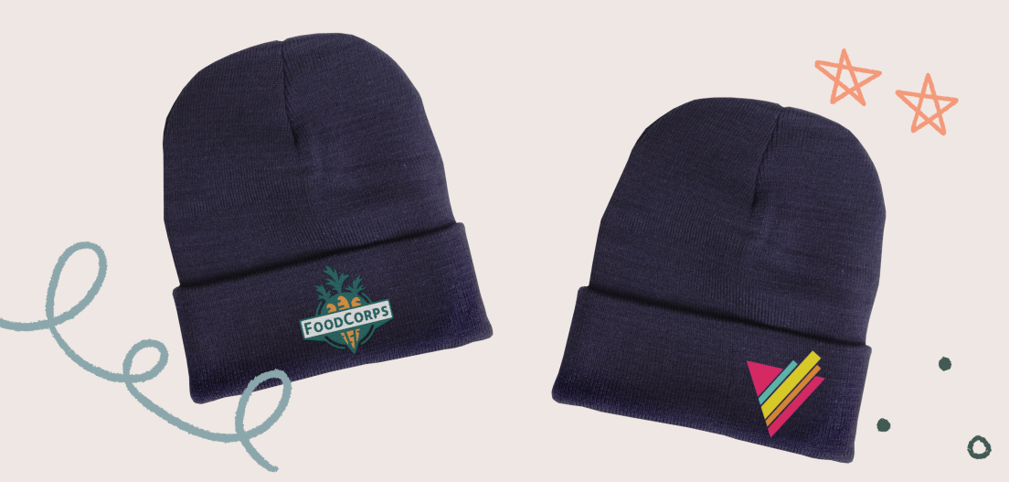 Cuffed beanie designs from the FoodCorps Beanie, and Outright Black Beanie campaigns.